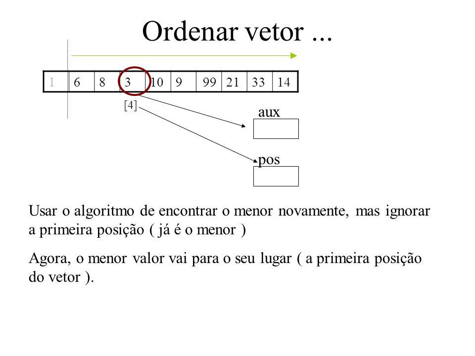 Ordenar vetor ... 1. 6. 8. 3. 10. 9. 21. 33. 14. 99. [4] aux. pos.